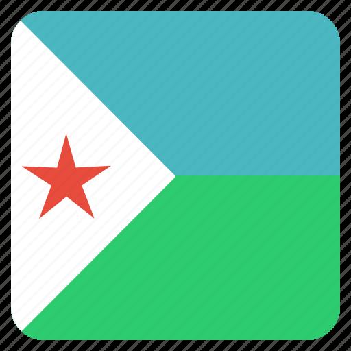 country, djibouti, flag, national icon
