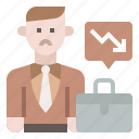 business, businessman, decline in working age population, office, resign icon