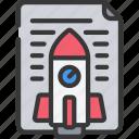 agile, document, launch, project, rocket, scrum icon