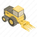 business, cartoon, forage, harvester, isometric, silhouette, technology icon