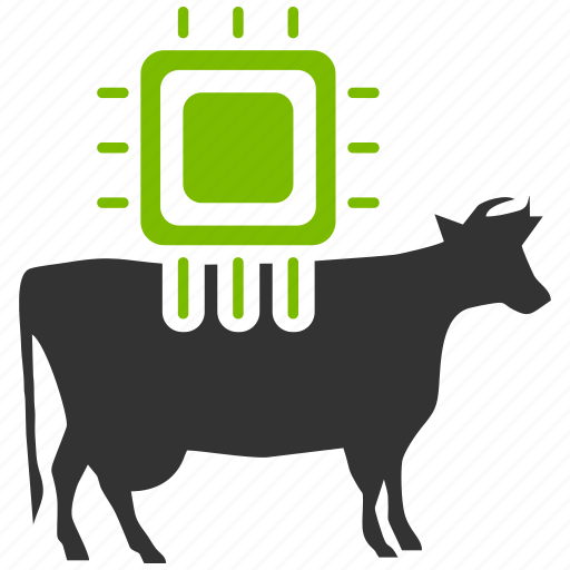 agriculture, animal, animals, application, bull, chip, chipping, communication, component, connect, connection, control, cow, device, electronic, electronics, engineering, equipment, farm, farming, hardware, industry, mobile, monitor, processor, server, system, technology, tools, wireless icon