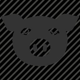 agriculture, animal, domestic, farm, head, hog, pig, piggy, sow, swine icon