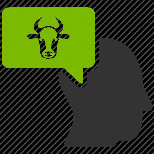 concept, cow dream, farmer, idea, message, person, thinking icon