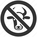 cattle, forbidden cow, illegal, no beef, not allowed, restrictive, stop icon