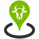 bull, cattle, cow place, location, map marker, ox pointer, pin