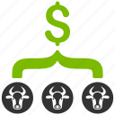 agriculture, chart, cows, dollar, livestock business, money, result icon