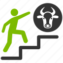 achievement, agriculture, bull, climbing, cow, person, steps up icon