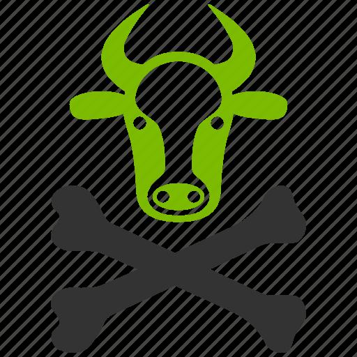 alert, cattle, cow death, danger, dead, emergency, toxic icon