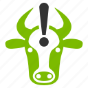 attention, bull alert, cattle, cow problem, danger, error, ox caution icon