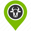 bull location, cattle farm, cow place, map marker, pin, point, pointer