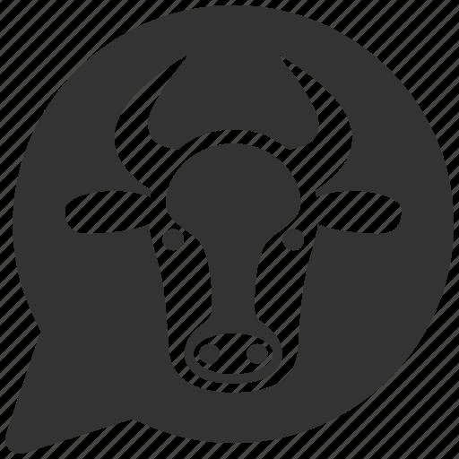 bubble, bull, cloud, cow head, message balloon, opinion, ox icon