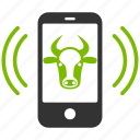 bull, mobile control, ox, phone, remote, smartphone, telephone icon