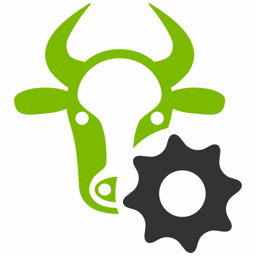 bull service, cattle factory, cow, options gear, setup, technology, wheel icon