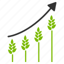 cereal, crop trend, data analysis, growing chart, harvest diagram, statistics, wheat plants icon
