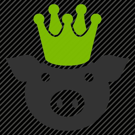 crown, king pig, piggy, power, queen, royal pork, swine icon