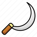 agriculture tool, demon tool, edge tool, reap hook, scythe, sickle icon