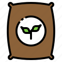 agriculture, farm, sack, seed, sprout icon