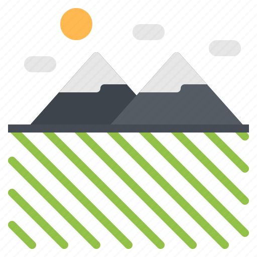 Cloud, farm, mountain, nature, sun icon - Download on Iconfinder