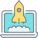 laptop, launch, online, rocket, spaceship, startup, strategy icon