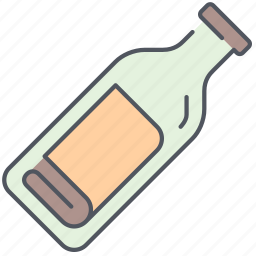 bottle, envelope, in, island, letter, message, pirates icon