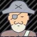 pirate, bandit, sailor, ship, boat, person, vessel