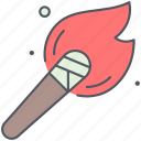 burn, exploration, fire, flame, research, torch icon
