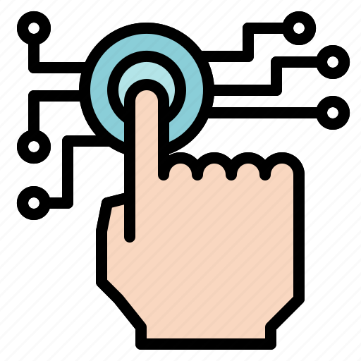 click, finger, gesture, hand, one, outlined, tap, touch icon