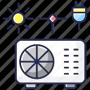air conditioner icon, hybrid air conditioner, intelligent ventilation, smart ac
