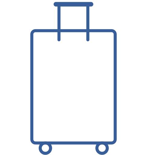 bag, baggage, briefcase, case, luggage, suitcase, suitcase on wheels icon