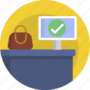 checkin, inspection, bag, airport icon