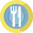 knife, food, plate, restaurant, fork, airport