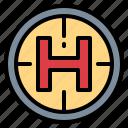 helicopter, helipad, landing, transportation icon