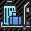 airport, bag, cart, travel