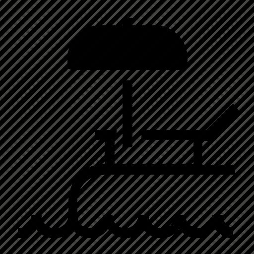 beach, lounge, parasol icon