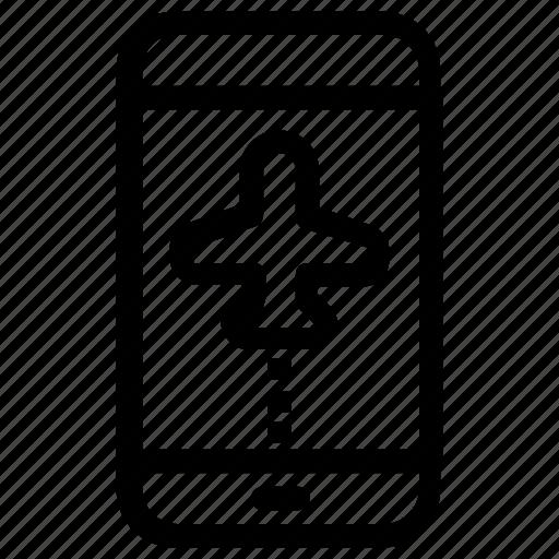 airplane, flight, smartphone icon