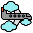 airplane, cloud, fly, flying, transport, travel icon