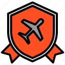 airplane, airport, best, good, security, shield icon