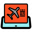 air, booking, business, plane, tablet, travel icon