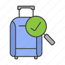 approved, bag, baggage, checked, checkmark, handbag, luggage icon