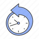 arrow, clock, counterclockwise, deadline, ountdown, reschedule, time icon