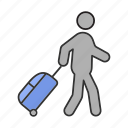 baggage, handbag, luggage, passenger, suitcase, tourist, travel icon