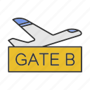 airplane, airport, boarding, departure, flight, gate, terminal icon
