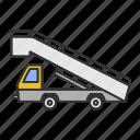 airplane, airport, board, gangplank, gangway, passenger, stair truck icon