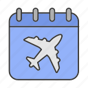 airplane, calendar, date, departure, flight, plane, schedule icon