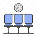 airport, hall, lounge, railway, room, seat, waiting icon