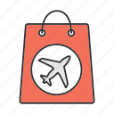 airplane, airport, bag, duty free, package, purchase, shopping icon