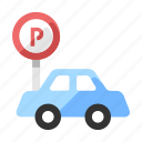 car, lot, park, parking, roadsign, transport, vehicle icon