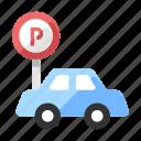 car, lot, park, parking, roadsign, transport, vehicle icon