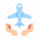airplane, flight, insurance, passenger, protection, safety, travel icon