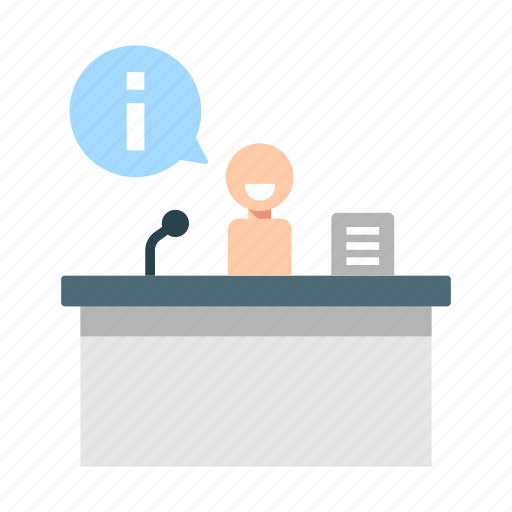 assistant, counter, customer, desk, information, receptionist, service icon